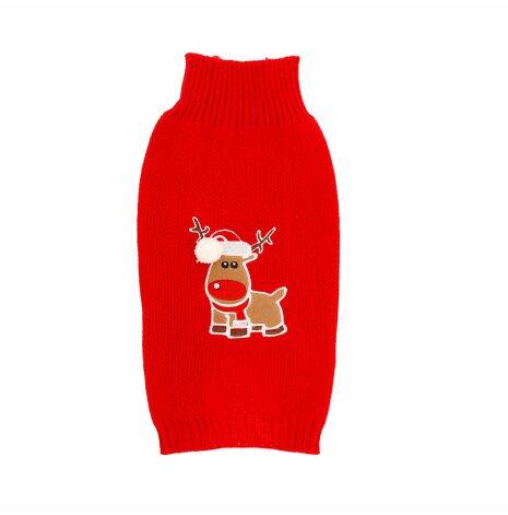 Jultröja stickad röd med ren