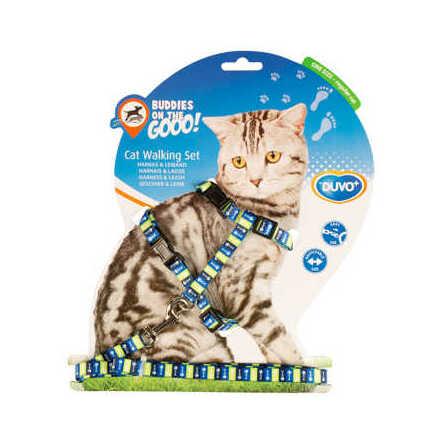 Kattsele set med koppel 20-35 cm/10 mm-125 cm flera mönster och färger
