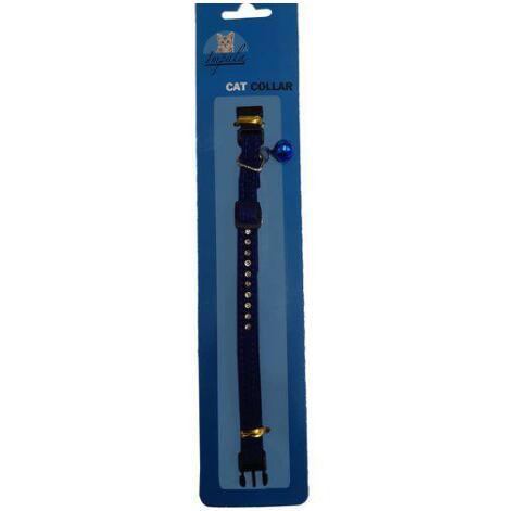 Katthalsband med strass och liten pingla mörkblått , Impala
